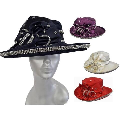Women's Designer flat crown Satin Ribbon Hat Church Kentucky Derby