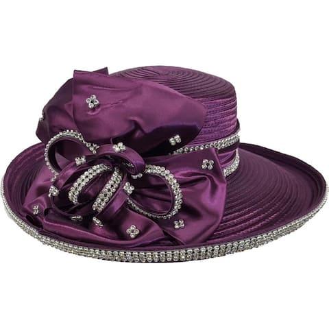 Women's Designer flat crown Satin Ribbon Hat Church Kentucky Derby