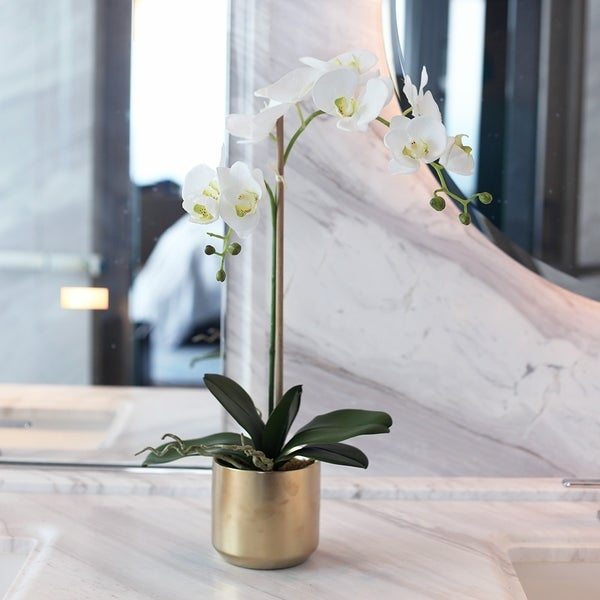 Faux Double Phalaenopsis Orchids in Gold Ceramic Vase - N/A