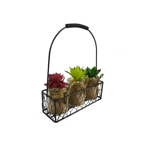 Artificial Succulents Vintage Wooden Crate
