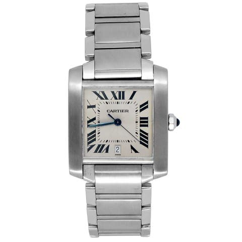 Pre-owned Large Cartier Stainless Steel Tank Francaise Watch