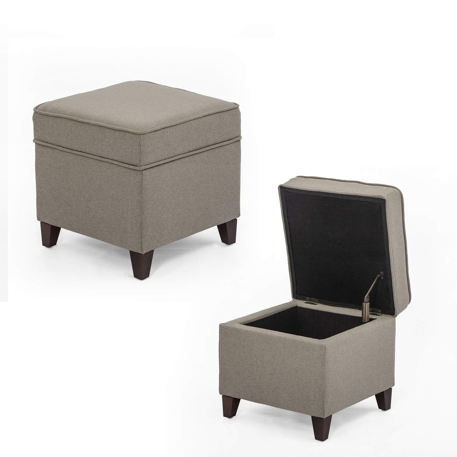 Brilliant Adeco Ottoman Storage Chest Footrest Square Seat Light Grey Gmtry Best Dining Table And Chair Ideas Images Gmtryco