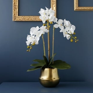 Faux White Butterfly Orchids in Gold Vase