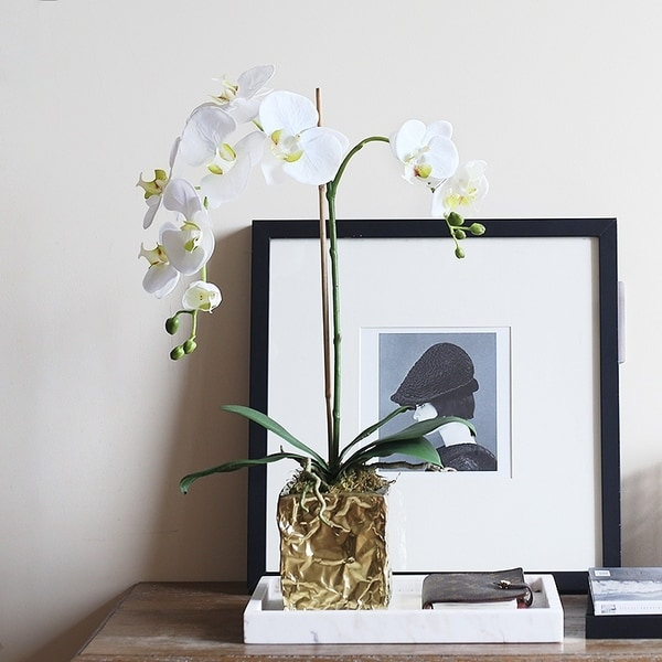 Faux White Orchid Arrangement in Creative Wrinkle Styling Ceramic Vase