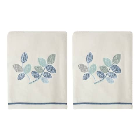 Croscill Mosaic Leaves Spa Embroidered Towel Sets- Bath, Hand, Tip