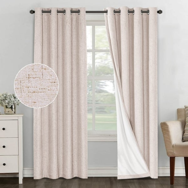 PrimeBeau Linen Blended 100% Blackout Waterproof Coating Themal Insulated Curtains. Opens flyout.
