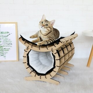 Link to Kinbor Wood Cat Bed, 2-Layer Cat Hammock Cat House Furniture Cat Condo with Removable Pad Similar Items in Cat Toys & Tunnels