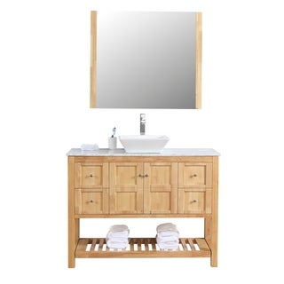 "Manhattan 48"" Freestanding Vanity with White Marble Top and Ceramic Basin in Natural Oak Wood"