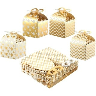 36 Paper Treat Boxes for Party Favor Goodie Gift Bright Golden Polka Dot 3.7x3.2