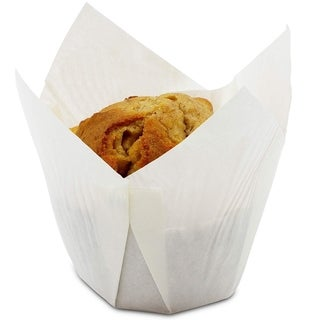 100-Pack White Tulip Muffin Wrappers Large Cupcake Paper Liners Baking Cups