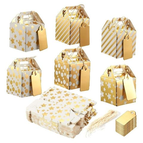 36 Paper Treat Boxes with Tags for Party Favor Goodie Gift, Bright Golden, 2x2x2