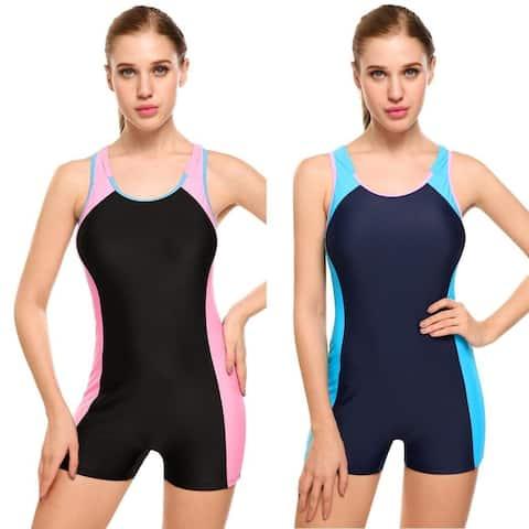 Ekouaer Women Plus-Size One Piece Swimsuit Racerback Contrast Color Patchwork Swimwear