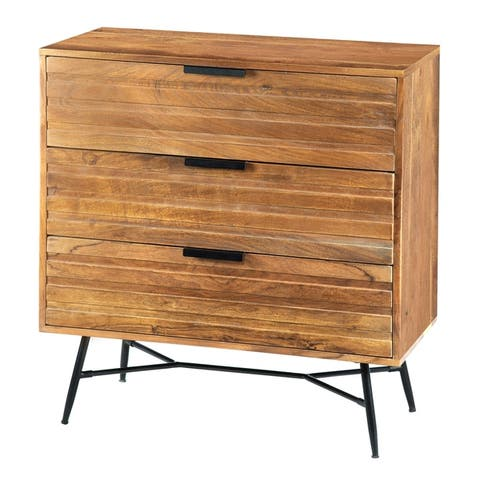 3 Drawer Wooden Chest with Slanted Metal Base, Brown and Black