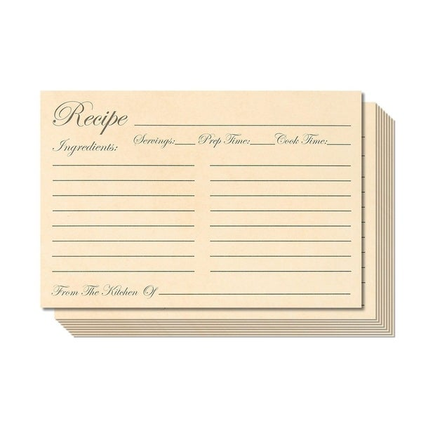 60 Pack 250 GSM Double Sided Kitchen Recipe Cards Record Share Recipes, 4x6""