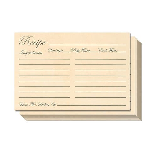 """60 Pack 250 GSM Double Sided Kitchen Recipe Cards Record Share Recipes, 4x6"""""""