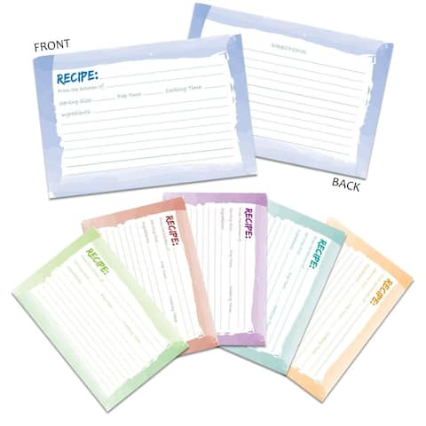 """60 Pack 250 GSM Double Sided Kitchen Recipe Cards Watercolor Design, 4x6"""""""
