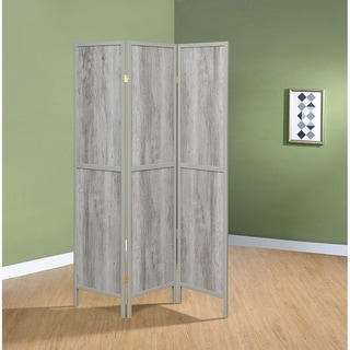 Rayport Grey Driftwood and Light Grey 3-panel Folding Screen