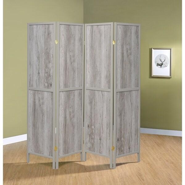 Rayport Grey Driftwood and Light Grey 4-panel Folding Screen