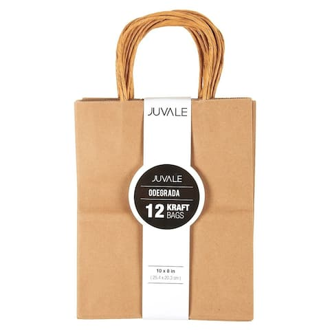 12-Count 8x10x4.5 Medium Brown Kraft Paper Bags w/ Handles Party Gift Favor Bags
