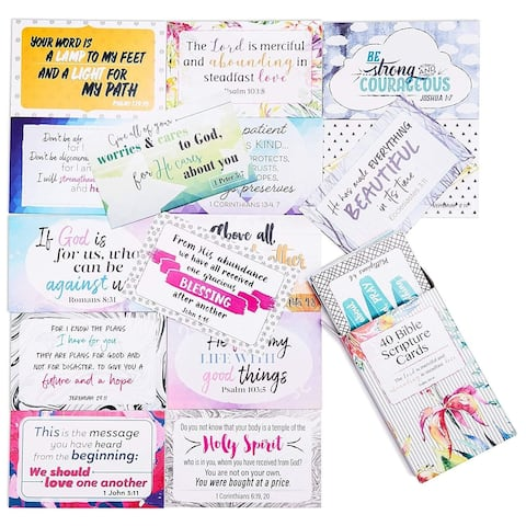 40-Design Inspirational Christian Prayer Message Bible Verse Scripture Cards