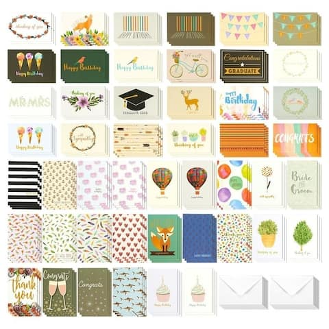 144 Assorted All Occasion Greeting Cards Bulk Set Birthday Wedding, 48 Designs