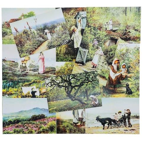 "40 Pack Vintage Postcards Collection Self Mailer Mailing Side Old World, 4x6"""