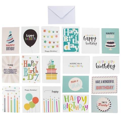 "144 Birthday Cards Assortment 18 Colorful Designs Bulk Box Set w/Envelope, 4""x6"""