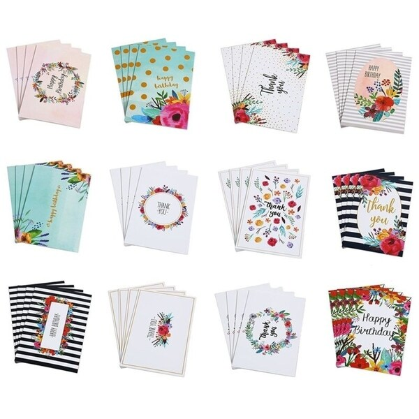 Shop 48 Floral Birthday And Thank You Cards Assortment W