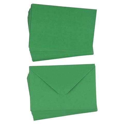 "48-Pack Plain Blank Green DIY Christmas Holiday Greeting Cards w/Envelopes 4""x6"""