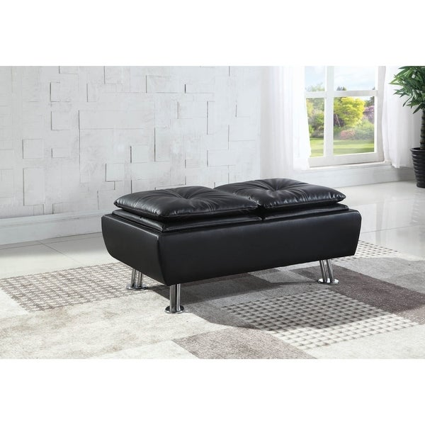 Strick & Bolton Sweidel Upholstered Storage Ottoman with Tray Top