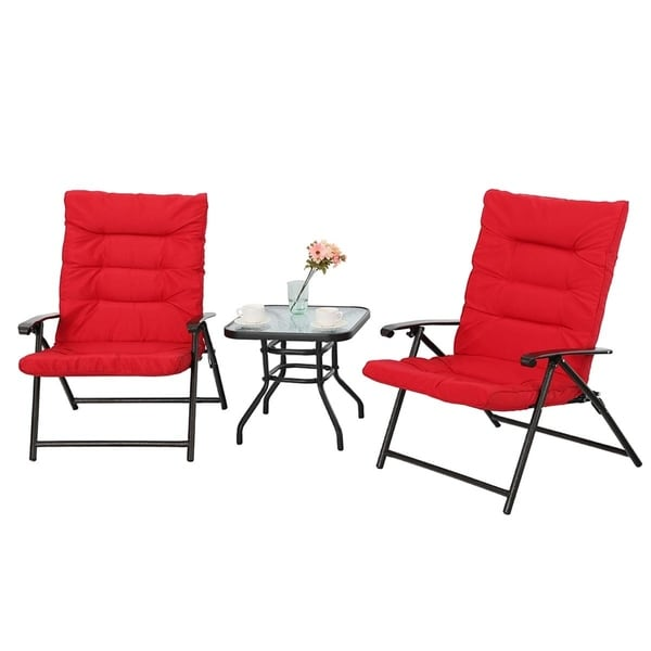 Shop Phi Villa Patio Padded Folding Chair 3 Pcs