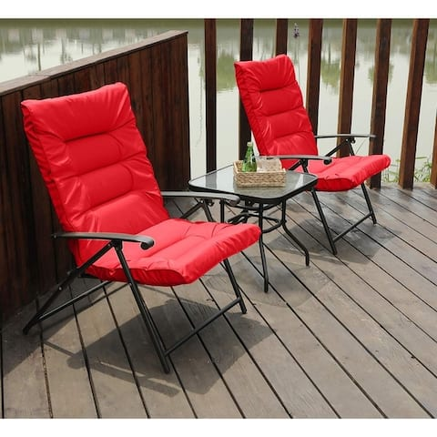 PHI VILLA Patio Padded Folding Chair 3 PCS