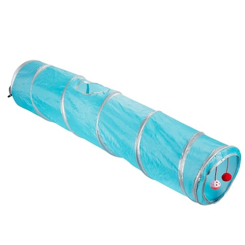 Juvale Pet Agility Play Tunnel Tube Training Toy for Small Pets Dogs Cats, Teal
