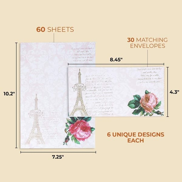 Lined Stationary Victorian Roses Stationery 12 Sheets 6 Envelopes