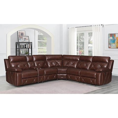 Runyan Chocolate 6-Piece Upholstered Power^2 Sectional