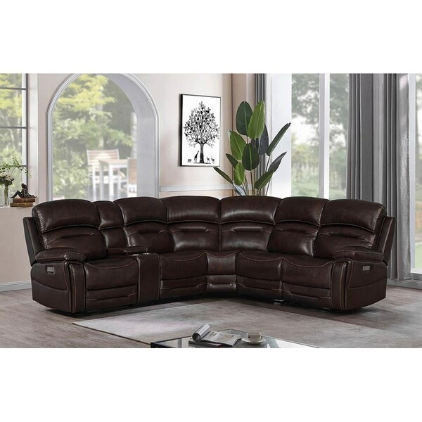 Markowitz Dark Brown 6-Piece Upholstered Power^3 Sectional