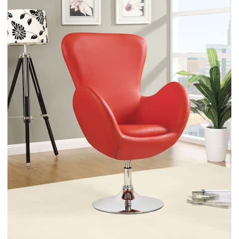 Hadzi Red High Back Curved Arm Swivel Accent Chair