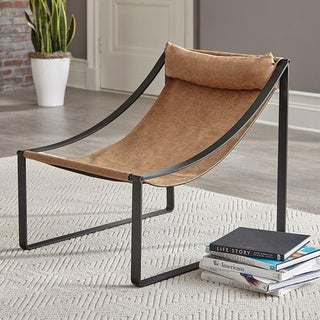 Hardacre Light Brown and Matte Black Sloped Arm Accent Chair