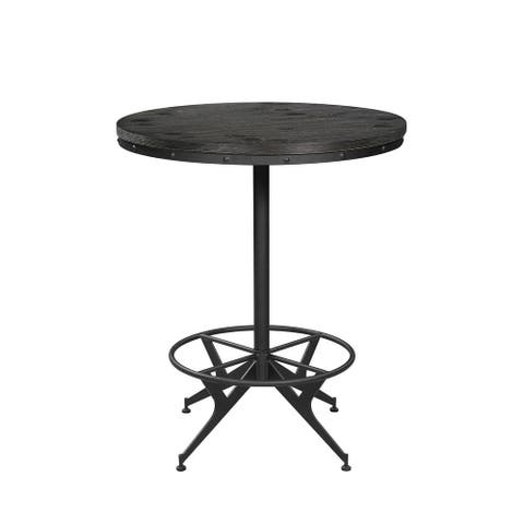Rawlins Wire Brushed Black and Antique Black Round Bar Table