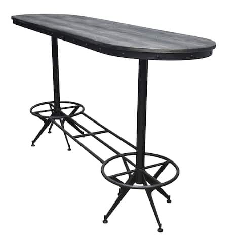 Rawlins Wire Brushed Black and Antique Black Oval Bar Table