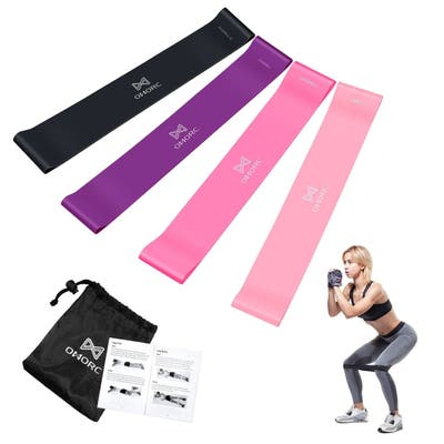 Omorc Resistance Bands 4 Resistance Levels Stretch Therapy Exercise Fitness Band with Storage Bag Natural Latex