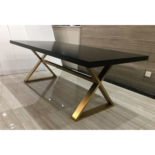 Stella Walnut and Aged Gold Rectangle Dining Table