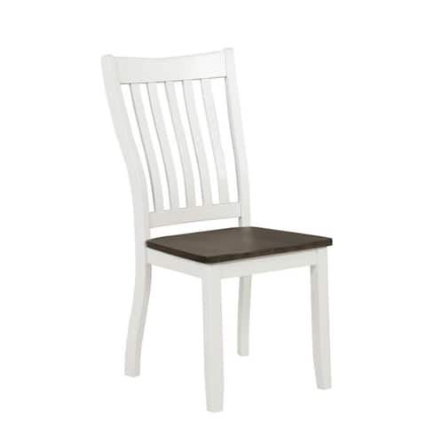 Dale Espresso and White Dining Chairs with Wood Seat (Set of 2)