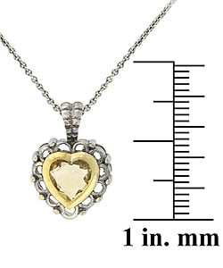 Glitzy Rocks Sterling Silver Citrine Heart Necklace - Thumbnail 2
