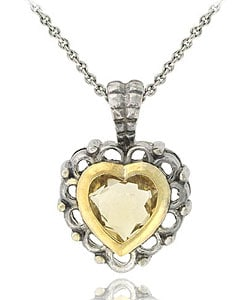 Glitzy Rocks Sterling Silver Citrine Heart Necklace