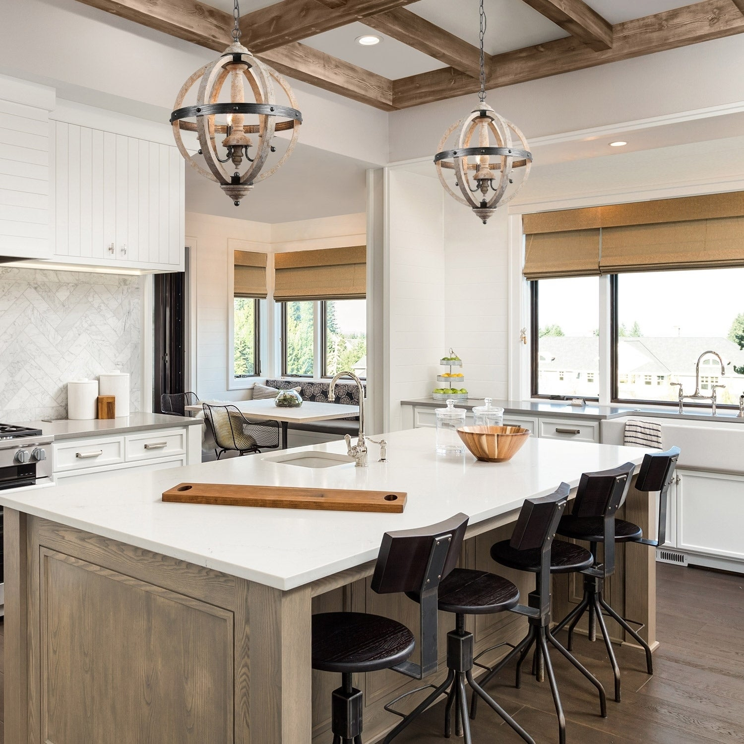 The Gray Barn Hester Gulch Farmhouse Chandelier Light with 3-light  Disdressed Wood for Kitchen Island