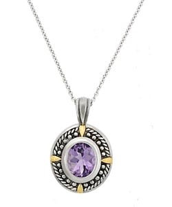 Glitzy Rocks Sterling Silver Rope Design Oxidized Amethyst Necklace