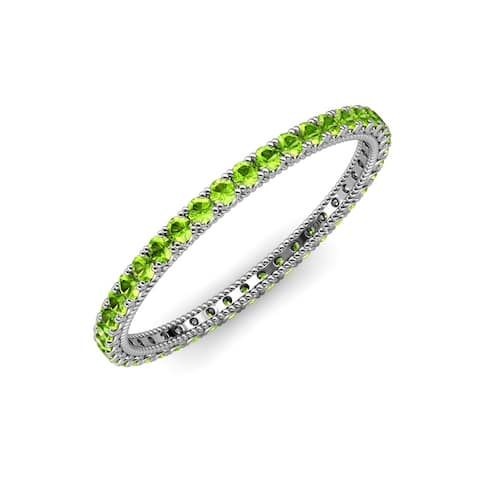TriJewels Peridot Womens Eternity Ring Stackable 1.21 ctw 14KW Gold