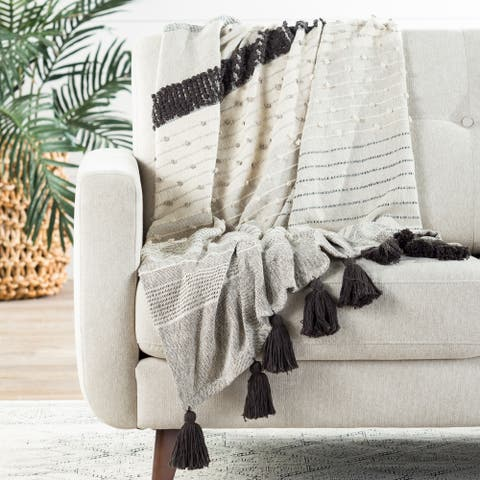 The Curated Nomad Otis Striped Grey and Ivory Throw Blanket