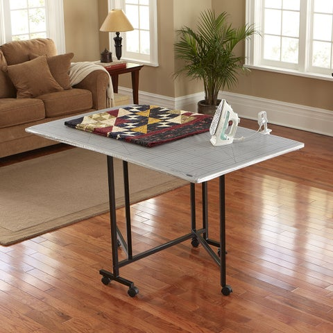 Sullivans Metal and Laminate Home and Craft Foldable Rolling Hobby Table